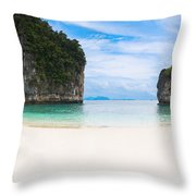 White Sandy Beach In Thailand Throw Pillow