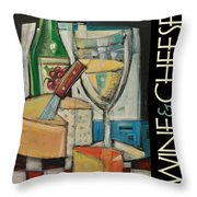 White Wine And Cheese Poster Throw Pillow
