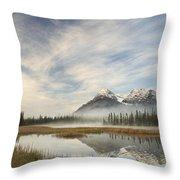 Whitegoat Lake And Mount Elliot Throw Pillow