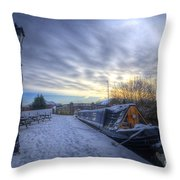 Winter At The Boat Inn Throw Pillow