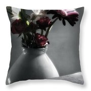 Red Floral Still Life  Throw Pillow