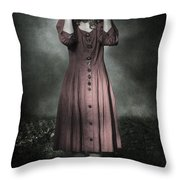 Woman And Teddy Throw Pillow