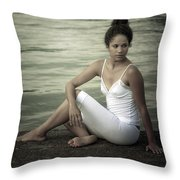 Woman At A Lake Throw Pillow