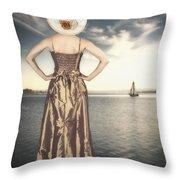 Woman At The Lake Throw Pillow
