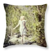Woman In A Forest Throw Pillow