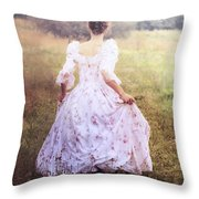 Woman In A Meadow Throw Pillow
