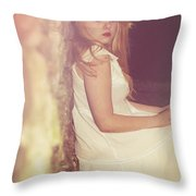 Woman In Alley Throw Pillow