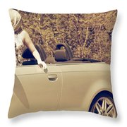 Woman In Convertible Throw Pillow by Joana Kruse