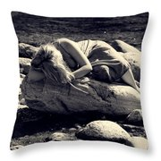 Woman In River Throw Pillow by Joana Kruse
