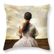 Woman On A Meadow Throw Pillow