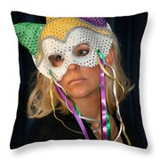 Woman With Mask Throw Pillow by Henrik Lehnerer