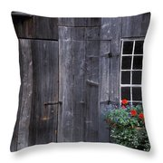 Wooden Building And Window Box Throw Pillow