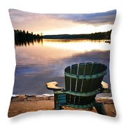 Wooden Chair At Sunset On Beach Throw Pillow by Elena Elisseeva