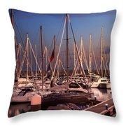 Yacht Marina Throw Pillow
