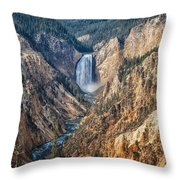 Yellowstone Lower Falls Throw Pillow