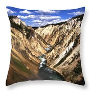 Yellowstone River Below Lower Falls  Throw Pillow