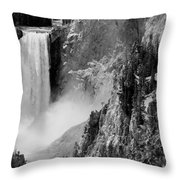 Yellowstone Waterfalls In Black And White Throw Pillow
