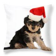 Yorkipoo Pup Wearing Christmas Hat Throw Pillow