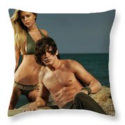 Young Beautiful Couple At The Beach Throw Pillow