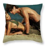 Young Couple On The Beach Throw Pillow