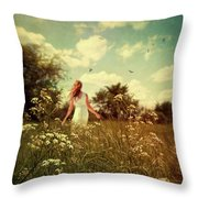 Young Girl Walking In Field Of Flowers Throw Pillow