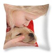 Young Girl With Yellow Labrador Throw Pillow