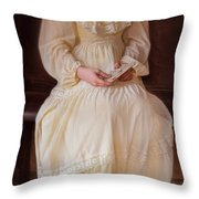 Young Lady In Yellow Gown With Letters Throw Pillow
