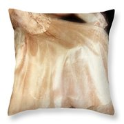 Young Lady Sitting In Satin Gown Throw Pillow by Jill Battaglia