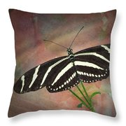Zebra Longwing  Butterfly-2 Throw Pillow