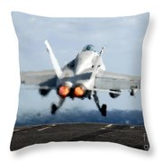 An Fa-18c Hornet Launches Throw Pillow