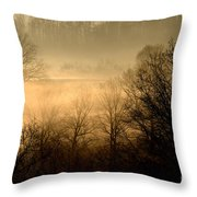 Misty Mountain Sunrise Throw Pillow