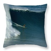 A Surfer Rides A Powerful Wave Throw Pillow