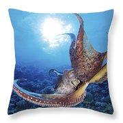 Hawaii, Day Octopus Throw Pillow