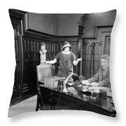Silent Film Still: Offices Throw Pillow