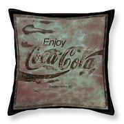 Coca Cola Sign Grungy Retro Style Throw Pillow