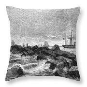 Suez Canal Construction Throw Pillow by Granger