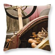 1914 Mercer Model 35 J Raceabout Engine And Steering Wheel Throw Pillow