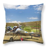 1916 Sopwith Pup Airplane On Airfield Poster Print Throw Pillow