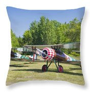 1917 Nieuport 28c.1 World War One Antique Fighter Biplane Canvas Poster Print Throw Pillow