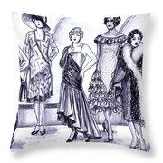 1920s British Fashions Throw Pillow