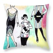 1920s Gals 3 Throw Pillow