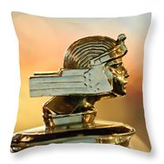 1929 Stutz Series M Four-passenger Dual-cowl Speedster Hood Ornament  Throw Pillow