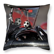 1932 Ford Roadster Fuzzy Dice Throw Pillow