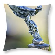 1932 Rolls-royce Phantom II Sedanca De Ville Hood Ornament Throw Pillow
