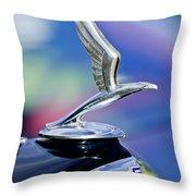 1933 Chevrolet Master Six Eagle Sedan Hood Ornament Throw Pillow