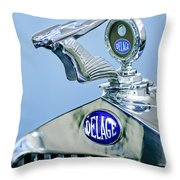 1933 Delage D8s Coupe Hood Ornament Throw Pillow by Jill Reger