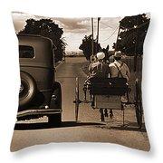 1934 Chevy And Today's Horse And Buggy By Randall Branham Throw Pillow