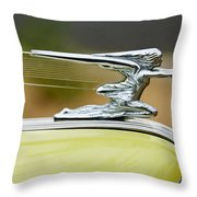 1942 Packard Hood Ornament Throw Pillow