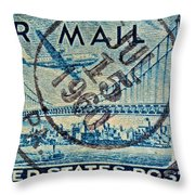 1946 Oakland Bay Bridge Air Mail Stamp Throw Pillow