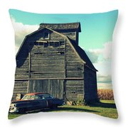 1950 Cadillac Barn Cornfield Throw Pillow